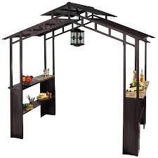 Lowes Patio Gazebo by Shop Sunjoy Black Rectangle Grill Gazebo Foundation 5 Ft X 8 Ft