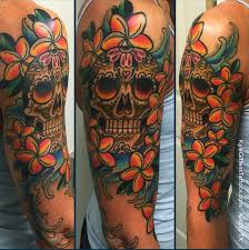 little tattoo studio colorful sugar skull half sleeve by