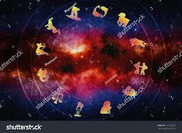 zodiac signs over magic background stars stock illustration