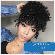 curly hair in high bun with bang quick updo high puff with bangs youtube