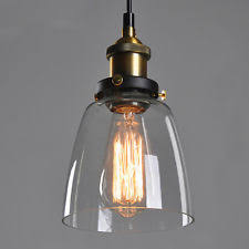 Vintage Pendant Light Glass Hanging Lamp Ebay