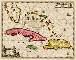 Bahamas World Map Old Map Bahamas Cuba Jamaica And Hispaniola Sea Chart