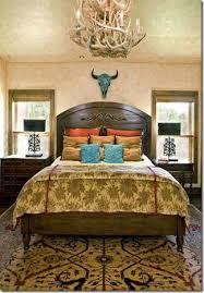 bedroom with western home decor ideas painted steer skull and