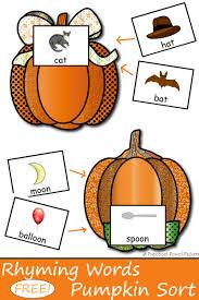 free pumpkin sorting rhyming words game rhyming words pre