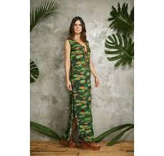 long tropical print shirt dress with side slit chemise longa verao