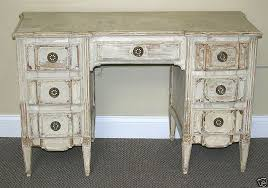 attributed jansen distressed white french vanity desk by lakeview