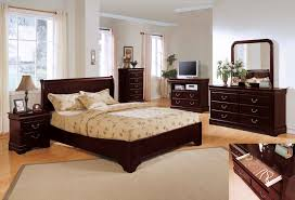 retro style dark iron wood bed frame combined with small side