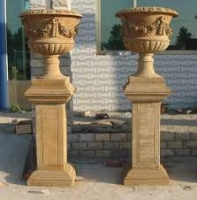 marble urns pair of carved marble urns with pedestals floral