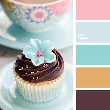 bright pink brown chocolate color palette light blue mint
