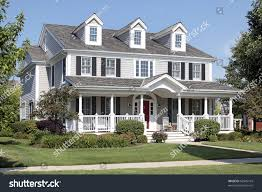 large suburban home front porch arched stock photo 62945743