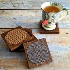 salvaged wood and thrifted tweed coasters for autumn fall decor