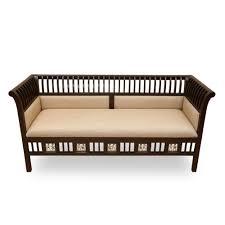 exclusivelane teak wood 3 seater sofa with dhokra work sofa set