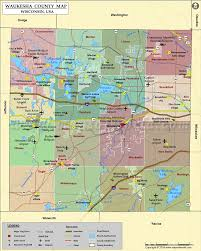 Wisconsin Topographic Map by Waukesha County Map Wisconsin
