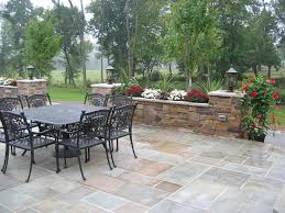 Dry Laid Bluestone Patio by Wet Laid Bluestone Patio With Cultured Stone Planters U0026 Pillars