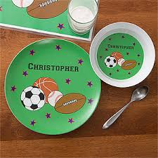 personalized dinner plate personalized kids dinner set boys sports plate bowl