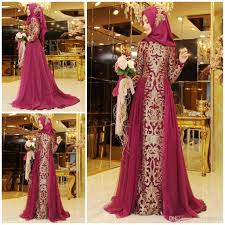 deep fuchsia muslim bridesmaid dress with hat jewel neck long