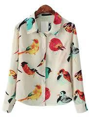 bird blouse bird button up chiffon shirt oasap com