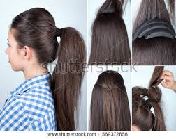ponytail haircut technique volume hairstyle ponytail bouffant tutorial hairstyle stock photo