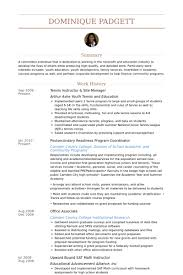 Lobbyist Resume Sample by Tennis Instructor Resume Samples Visualcv Resume Samples Database