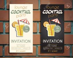 vintage cocktail party illustration lounge cocktail party flyer invitation template with driver