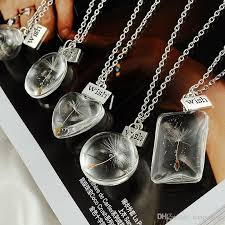 crystal glass pendant necklace images Wholesale hot sale real dandelion jewelry crystal glass ball jpg