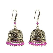 Chandelier Earrings India Inspired Stylish Pink Jhumki Tribal