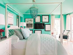 bedroom blue colour idea with white bed light sheet rug and wall