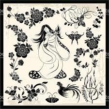 japanese traditional ornaments vector set stock vector art
