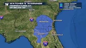 Northern Florida Map by Portions Of Georgia And Florida Under Freeze Warnings As Cold Air