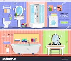 set modern graphic bathroom interiors bath stock vector 390703837