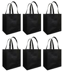 amazon com reusable grocery tote bag black 6 pack kitchen u0026 dining