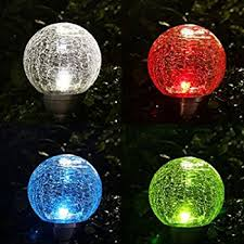 set of 2 solar crackle glass ball lights fixture multicolor