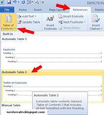 Create Table Of Contents In Word 2013 How To Create Table Of Contents In Word 2010 Nerd U0027s Realm