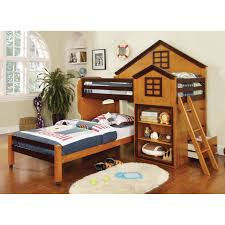 Bunk Bed House Donco Club House Low Loft Bed Driftwood Hayneedle