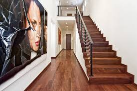 Stairway Banister Stairway Railings Hall Modern With Doorway Hardwood Floor