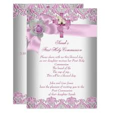 communion invitations for girl holy communion 1st cross white pink card zazzle