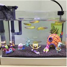 1 set aquarium ornament spongebob figures pineapple