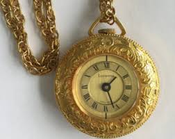 vintage watch chain necklace images Swiss made heritage gold tone pocket working windup watch fob jpg