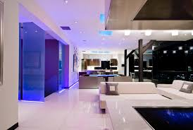 modern home uses stunning blue led strip lights to inject colour