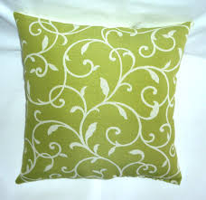 Nicole Miller Decorative Pillows by Lime Green And Off White Vine Scroll Indoor Outdoor Fabric Pillow