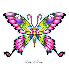 collection of 25 black ink butterfly ankle design