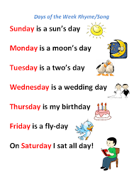 worksheet days of the week rhyme song