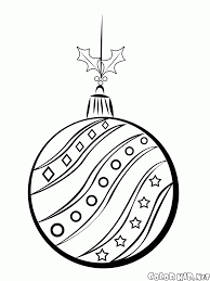 coloring page christmas tree ball on a string