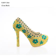 wedding shoes gold color cheap 2017 newest designer gold color green flowers rhinestone
