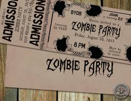 Halloween Birthday Invitations Printable Zombie Theme Party Zombie Birthday Party Ticket Invitation With