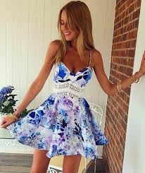 floral dresses blue floral patchwork spaghetti straps wave pattern homecoming