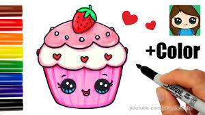 how to draw color a cupcake easy valentine u0027s sweet youtube