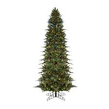 slim christmas tree with led colored lights shop northlight 9 ft pre lit pencil pine slim artificial christmas
