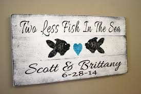 Wedding Gift Destination Wedding Beach Wedding Sign Pallet Sign Two Less Fish In The Sea Beach
