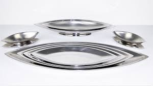 Dining Steel Plate Set Cosmos Stainless Steel Dishes By Guy Degrenne 1970s Set Of 10